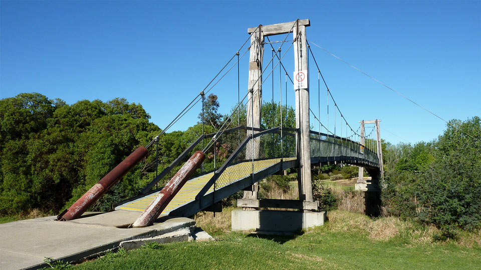 Suspension Bridge over Mitchell River Backwater, Howitt Park, Bairnsdale