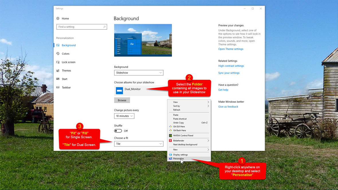 How to setup a Background Slideshow in Windows 10