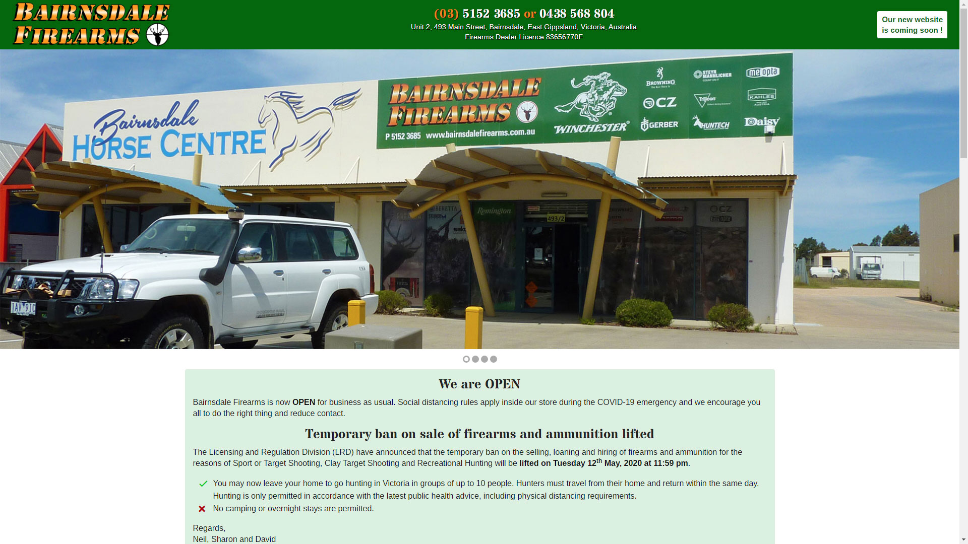 Bairnsdale Firearms website