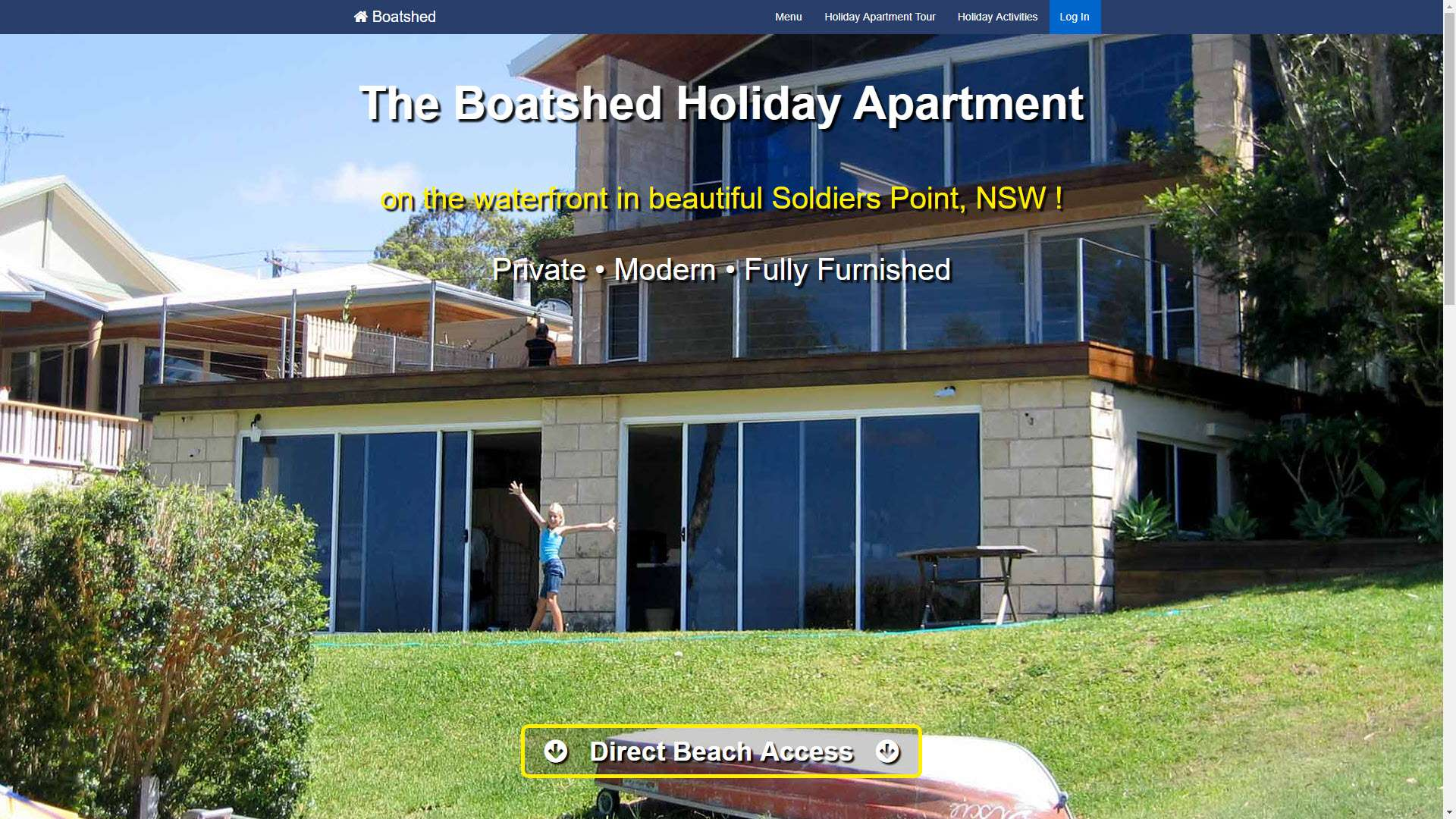 Boatshed Holiday Apartment, Soldiers Point, NSW website