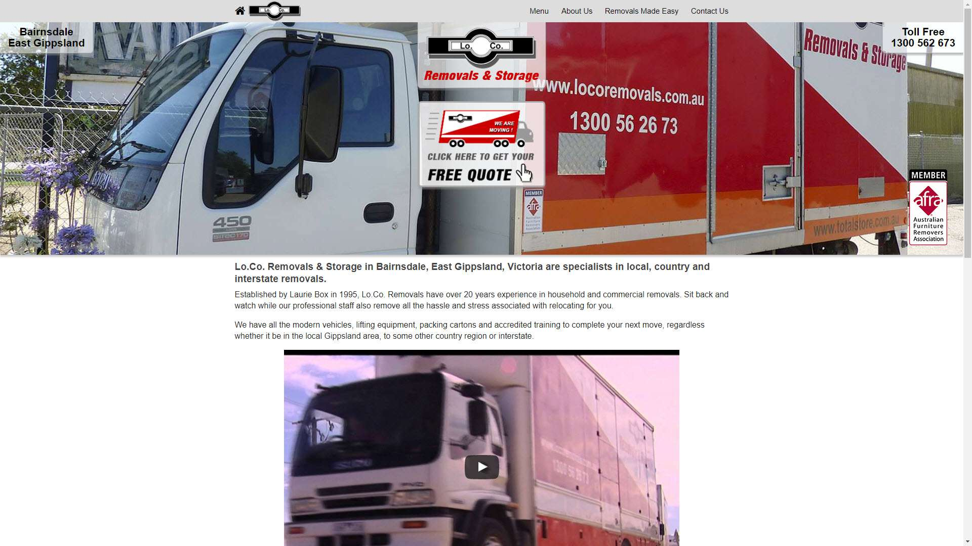 Lo.Co. Removals and Storage, Bairnsdale website