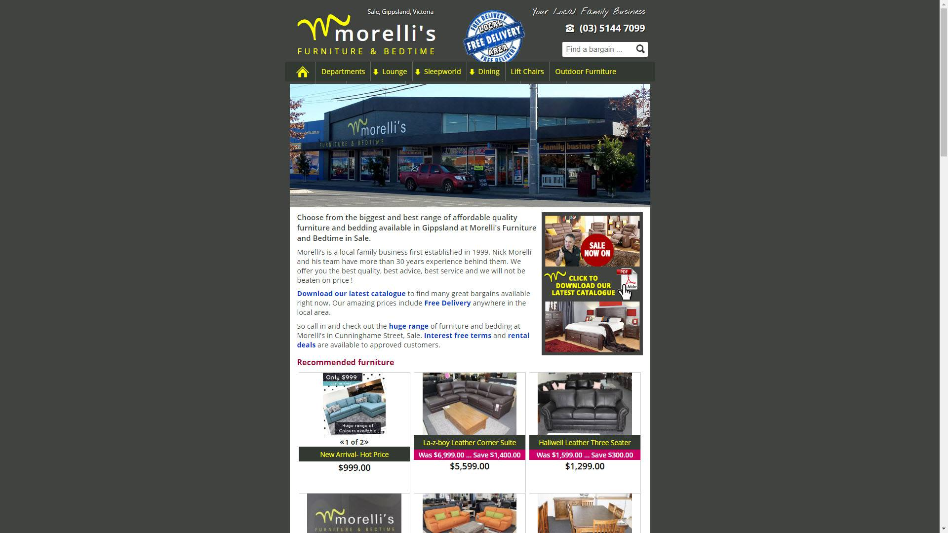 Morelli's Furniture and Bedtime, Sale website