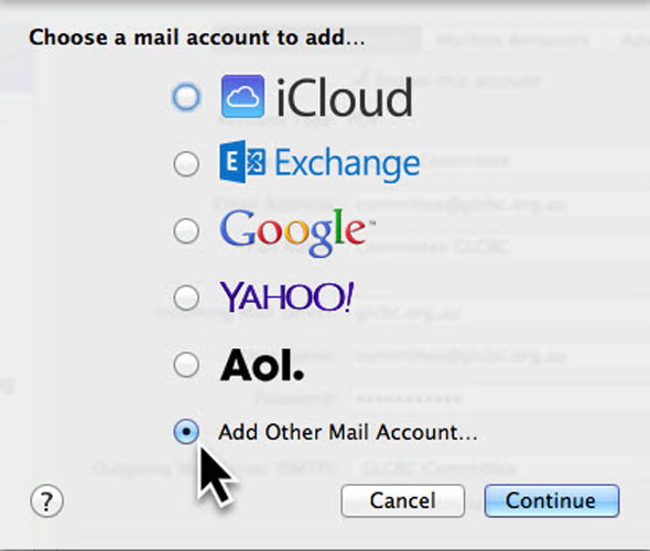 Choose a mail account to add