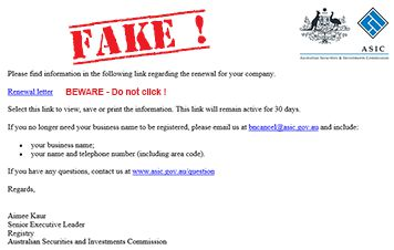 Fake ASIC Business Name Renewal Phishing Emails