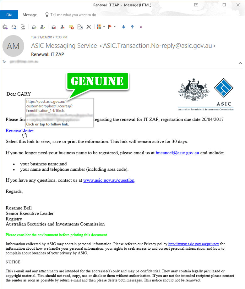 GENUINE Business Name Renewal Email Message from ASIC