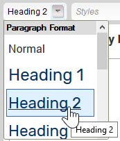 CK Editor Headings drop-down menu