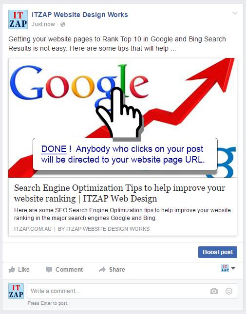 Anybody who clicks your Facebook Post will be directed to your website page