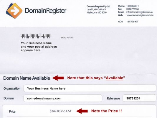 Warning about DomainRegister letter that looks like an Invoice