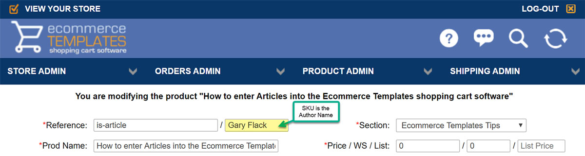 Ecommerce Templates SKU field becomes the Author name
