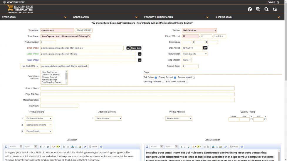 Ecommerce Templates Admin Panel custom CSS stylesheet ...