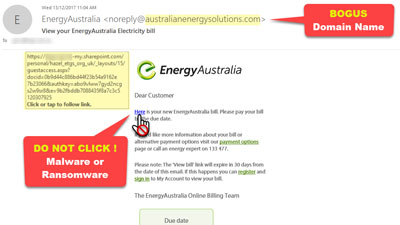 Fake EnergyAustralia Electricity Bill Email from australianenergysolutions.com