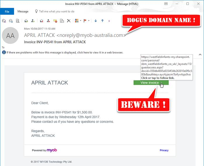 Website zap Myob Design Invoice Works I Fake t Emails Phishing
