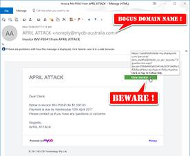 Fake MYOB Invoice Phishing Emails