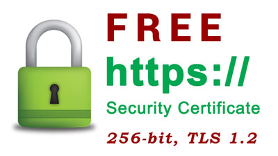 Free SSL Security Certificate, 256-bit data encryption, TLS 1.2