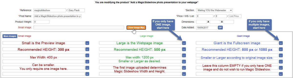 Ecommerce Templates Image Sizes for MagicSlideshow presentation