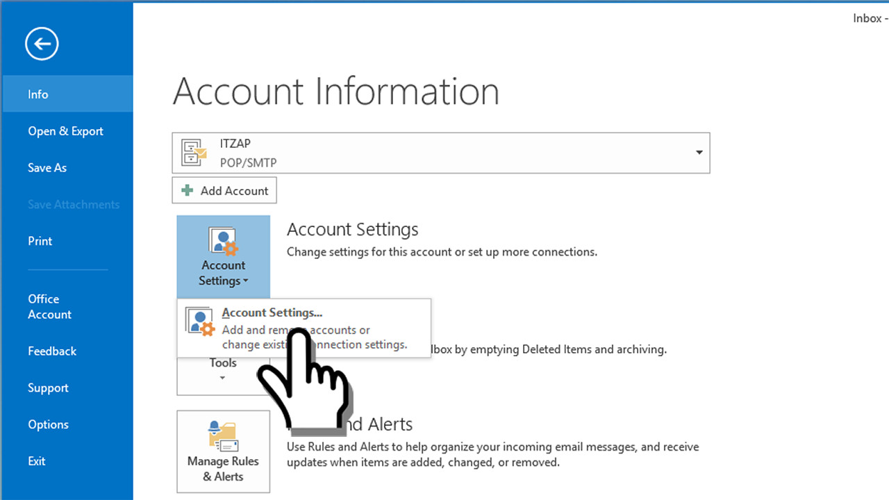 Microsoft outlook ssl secured pop3 email account settings for Acc email