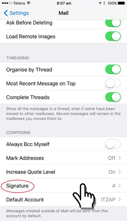 iPhone or iPad Email Signature Settings