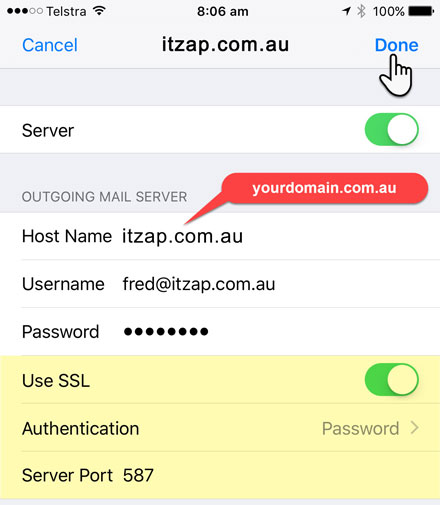iPhone or iPad Outgoing Mail Server Settings