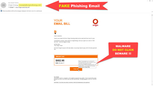 Fake Origin Energy Electricity Bill Phishing Emails