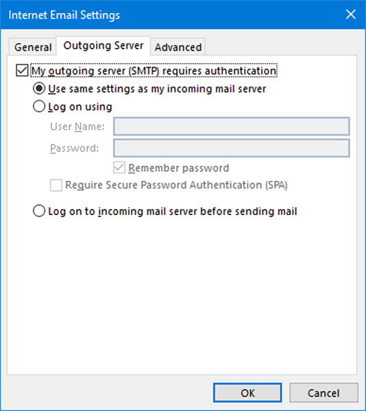 Microsoft Outlook SSL secured POP3 email account settings