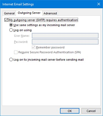 Outgoing Email Server Settings
