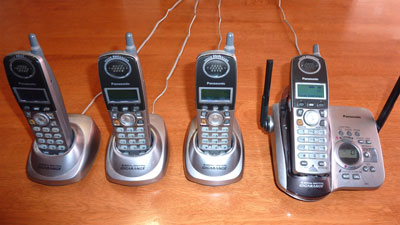 Panasonic Cordless Telephone Set for Sale, 4 Handsets and Answering Machine