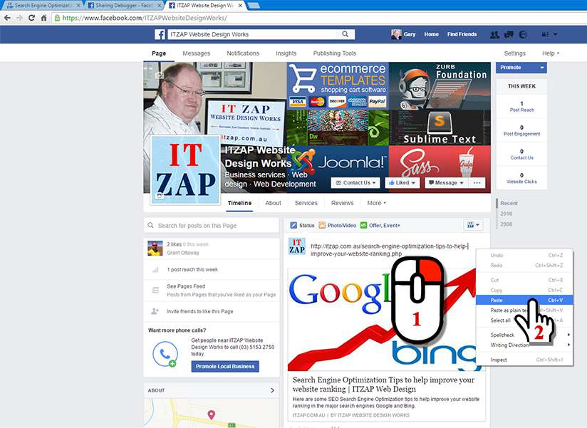 In the Facebook Post box, right-click and Paste in your webpage URL address