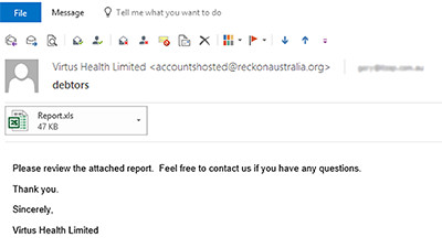 Beware of suspicious email from reckonaustralia.org