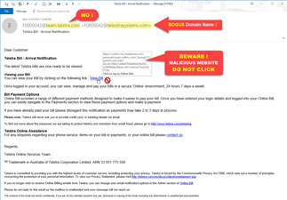 Fake Telstra Bill Phishing Email, do not click the View Bill link!