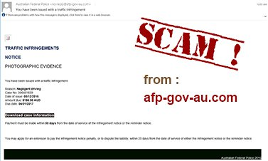Traffic Infringement Phishing Email Scam