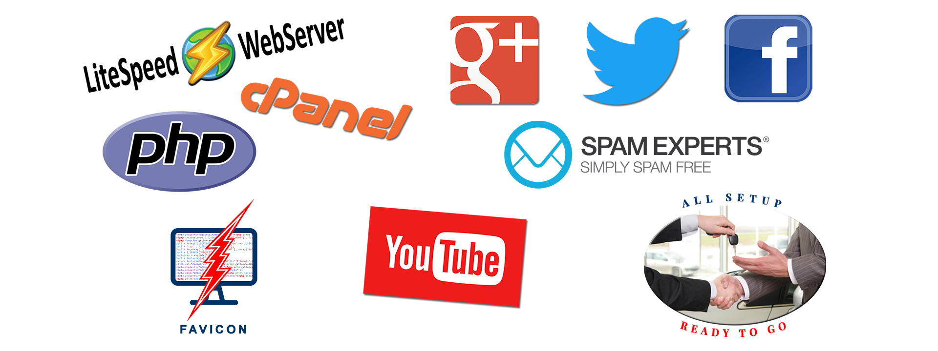 Litespeed Web Server, cPanel, PHP, SpamExperts, Facebook, Google+, YouTube, Favicons, all setup ready to go
